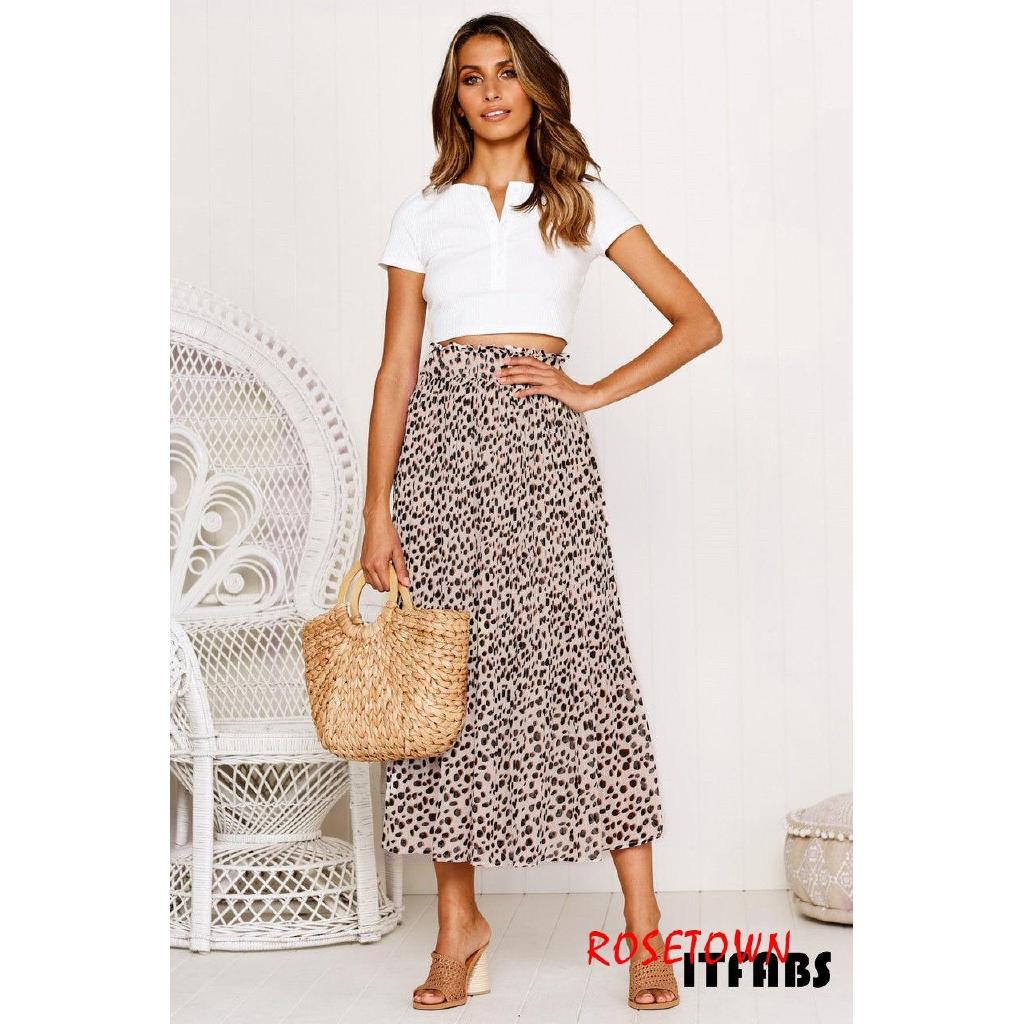 Chân váy Maxi lưng cao in họa tiết phong cách boho thời trang cho nữ