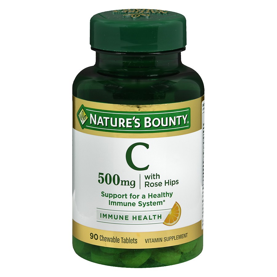 [BILL MỸ] Lọ 90v Vitamin C Nature's Bounty Delicious Chewable Vitamin C-500 mg With Rose Hips