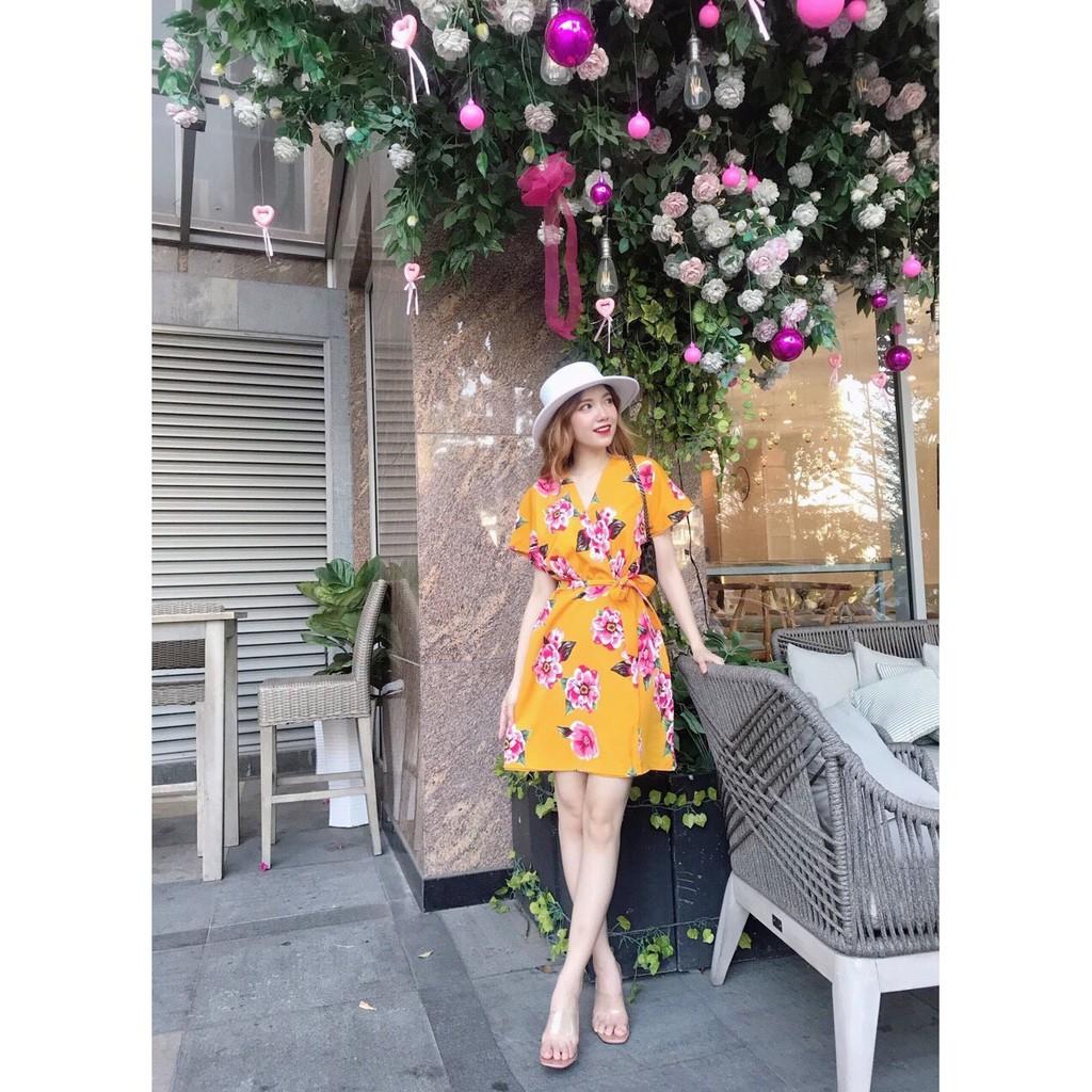 6235708840 - Về thêm hoa vàng cột eo nơ Qả đầm đẹp cho nàng xuống phố   ☘️ Hoạ tiết cực xinh, lên dáng sang nhẹ nhàng  . Diệ