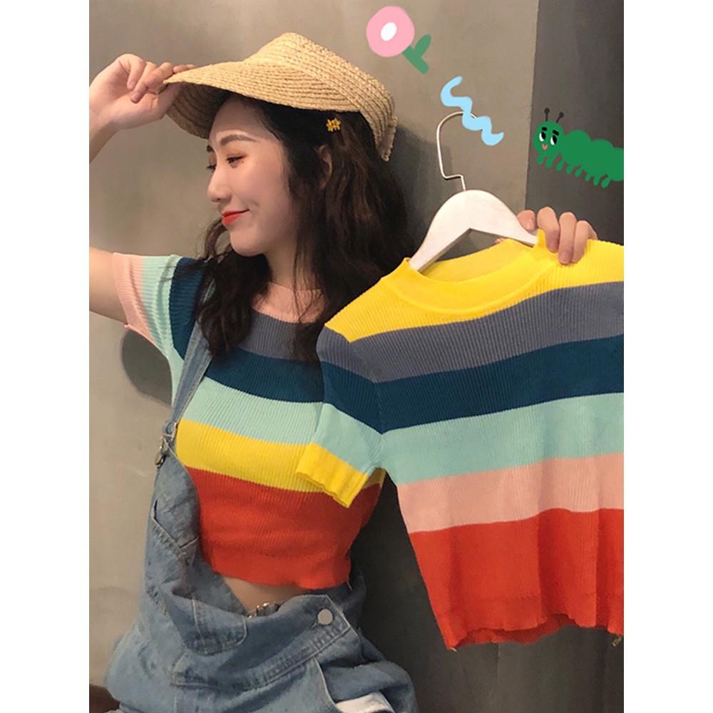 Mùa xuân và hè 2020 Phiên bản Hàn Quốc mới của áo thun sọc cầu vồng retro mới Áo thun mỏng là áo len mỏng tay ngắn tay nữ