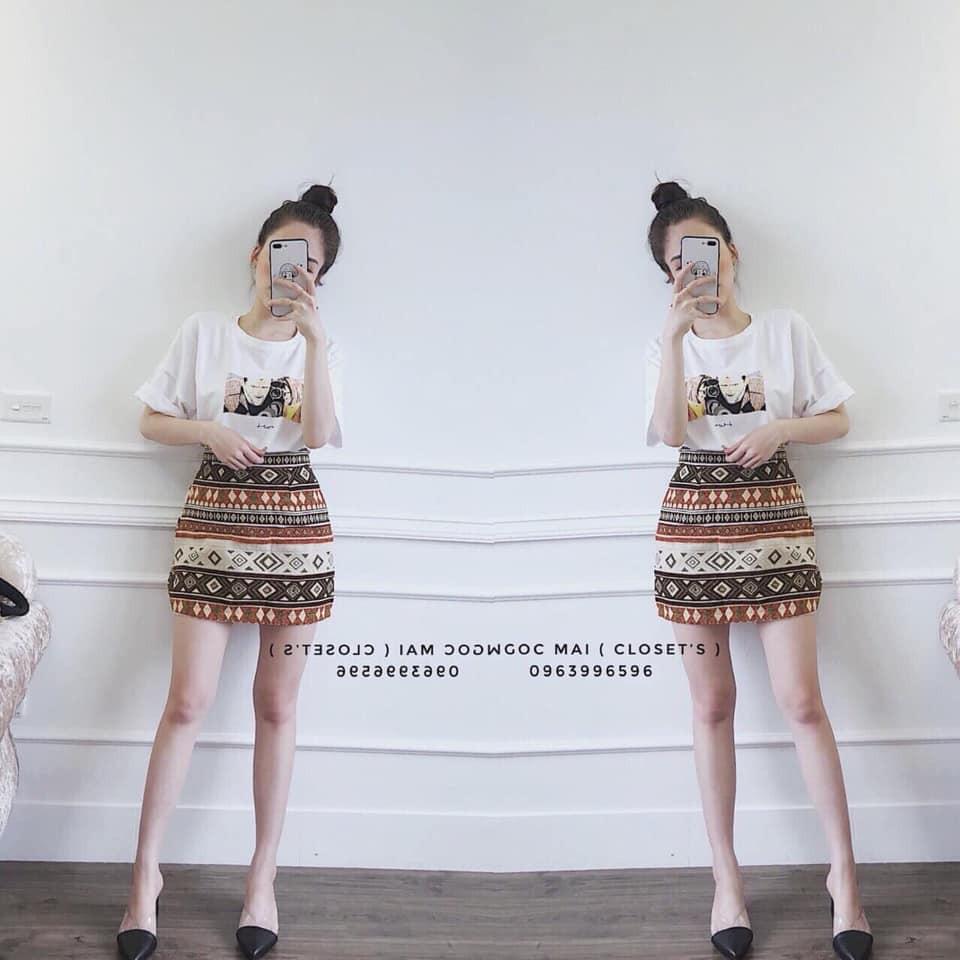 Sét áo 3D mix chân váy thổ cẩm