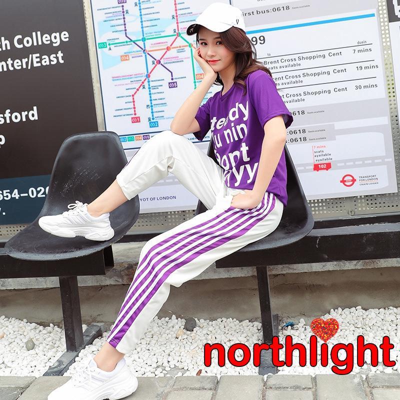 Set áo thun in chữ kèm quần dài co giãn thời trang thể thao cho nữ