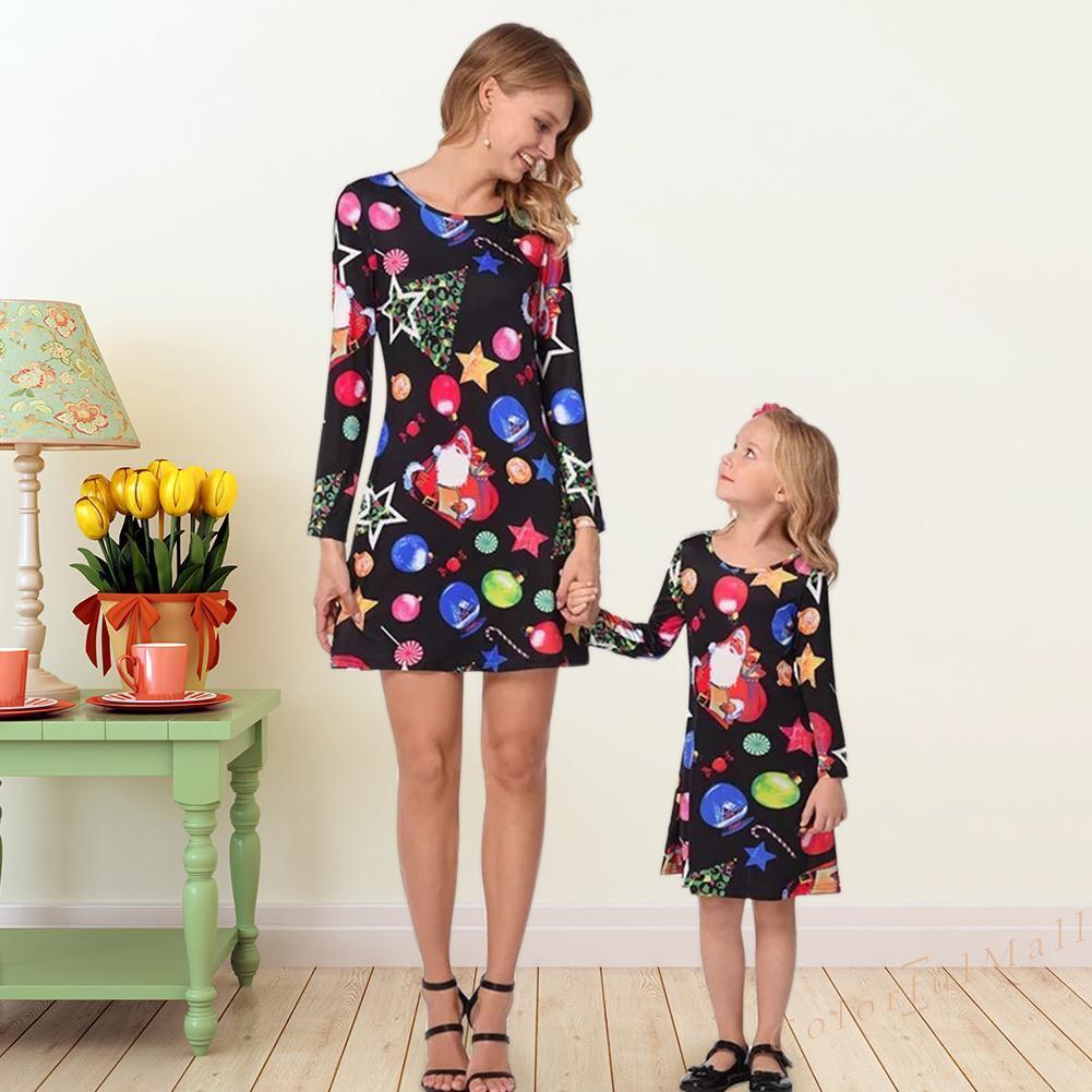 Set áo thun ba lỗ + Váy xòe phong cách Giáng sinh cho bé gái