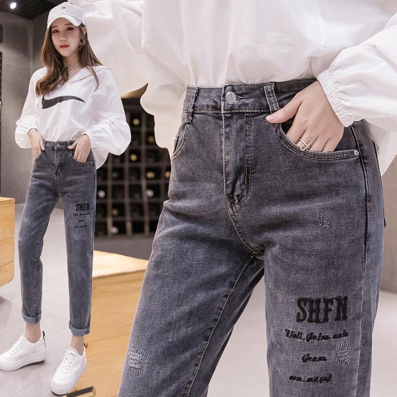 Quần Jeans Nữ Dáng Rộng Thêu Hoa Thời Trang