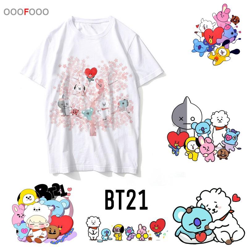 new phong cách hàn quốc BTS BT21 KPOP T SHIRT áo thun ngắn tay cho nữ áo thun áo thun nam shirt cartoon