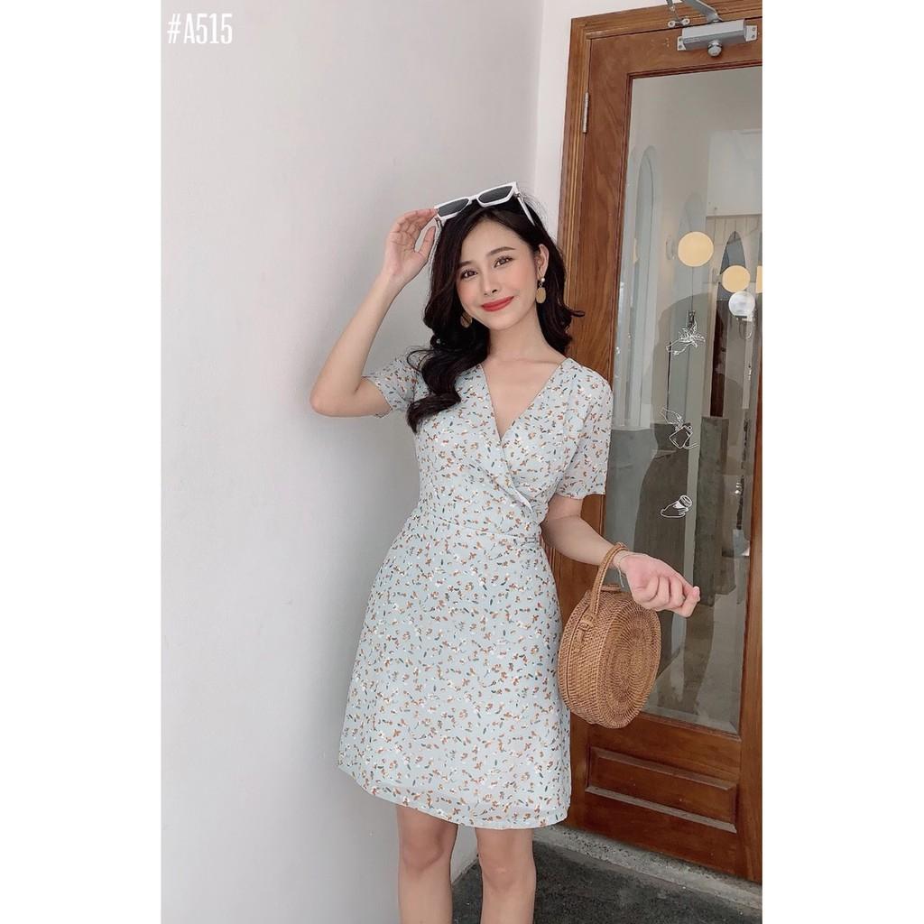 [HOT 2020] Váy đầm voan 2 lớp hoa nhí xanh dáng xòe với thiết kế vạt đắp chéo trẻ trung