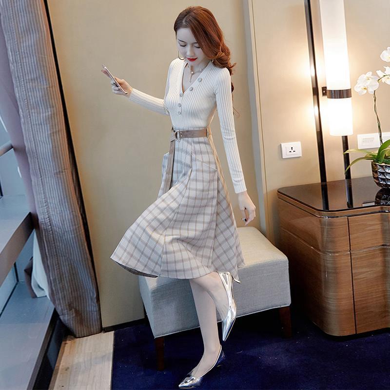 Set Áo Thun Tay Dài + Chân Váy Xinh Xắn Thời Trang Theo Phong Cách Hàn Quốc Cho Bé Gái