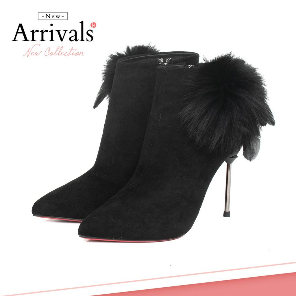 [Giày xinh toàn quốc] Boots 9cm Da lộn, Ankle boots, lông vũ Mã BO100290 (1)