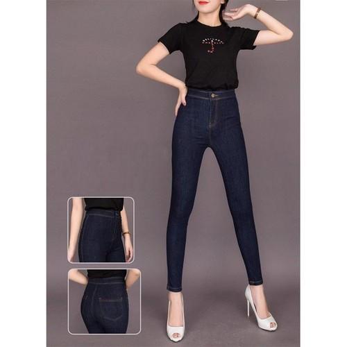 Quần jean nữ lưng cao KHÔNG ĐỈA XANH ĐẬM, KHÔNG TÚI TRƯỚC chất giãn tốt 0KĐ-VVP2