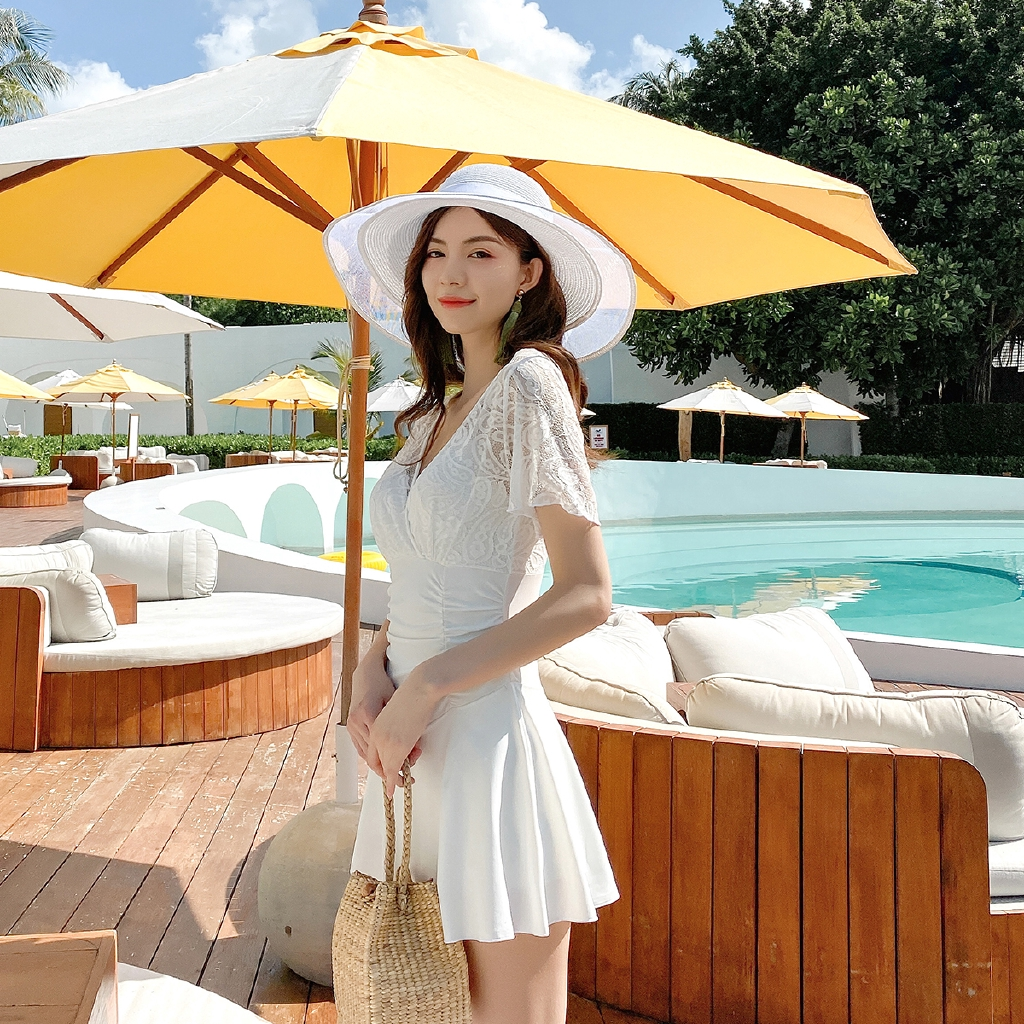 Bộ Đồ Bơi Áo Tay Ngắn + Chân Váy Thời Trang Xinh Xắn Cho Nữ