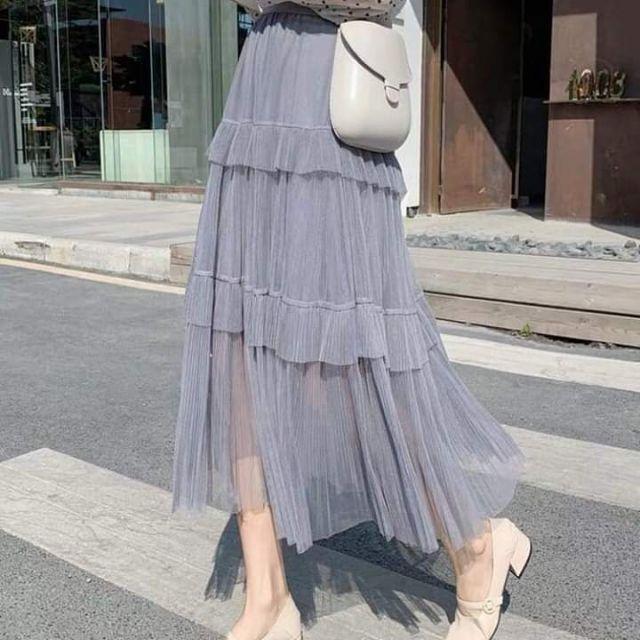 Chân váy ren dài