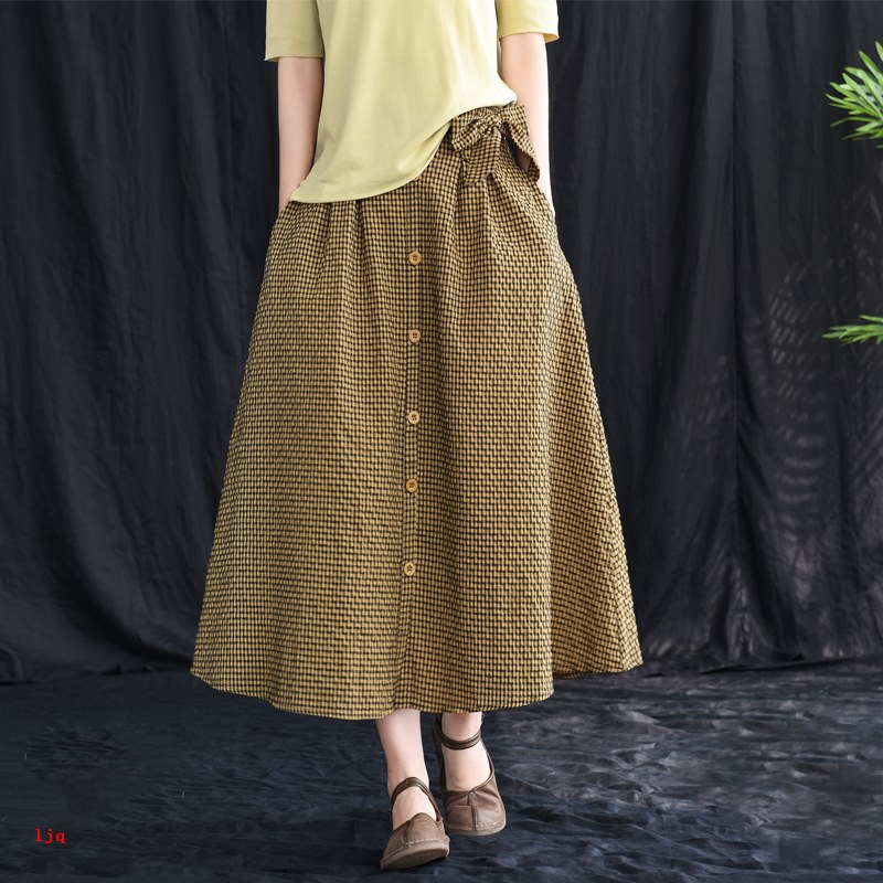 Chân Váy Dài Vải Lanh Cotton Thời Trang Xuân Hè 2020 Cho Nữ