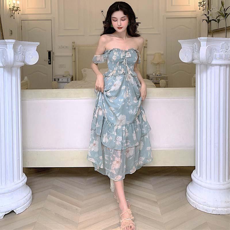 ( HÀNG ORDER ) Váy maxi hoa trắng nhúng ngực xếp tầng + áo khoác mong manh diu dàng.