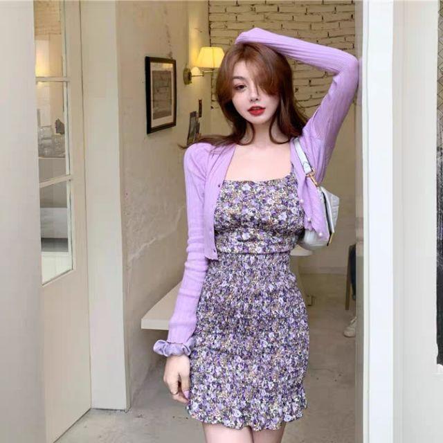 Váy voan+áo khoác lửng kiểu dáng Hàn Quốc Xuân Hè 2020