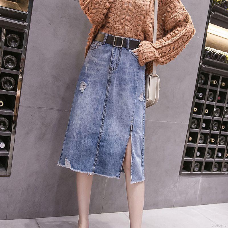 Chân Váy Jeans Xẻ Tà Thời Trang Dành Cho Nữ