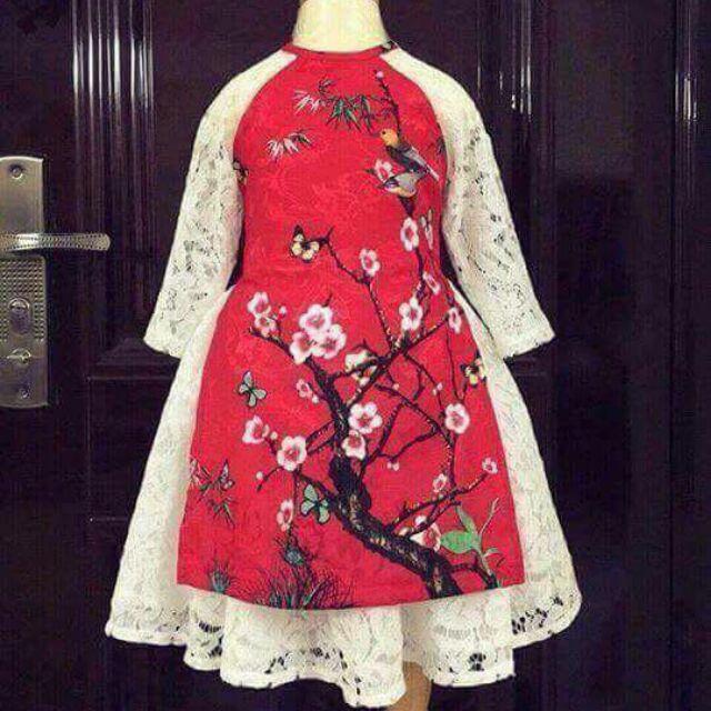 Áo dài cách tân bé gái mẫu hoa đào( màu đỏ, vàng, hồng)