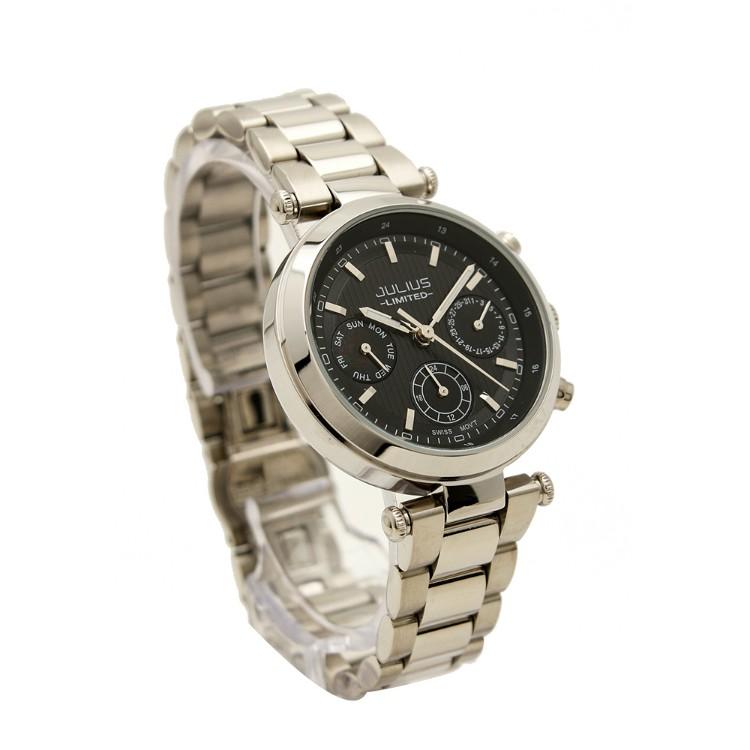 Đồng hồ nữ Julius Jal029 dây thép bạc mặt đen