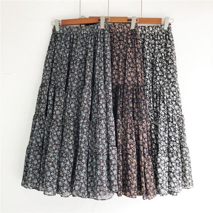 chân váy dài xếp li vải chiffon