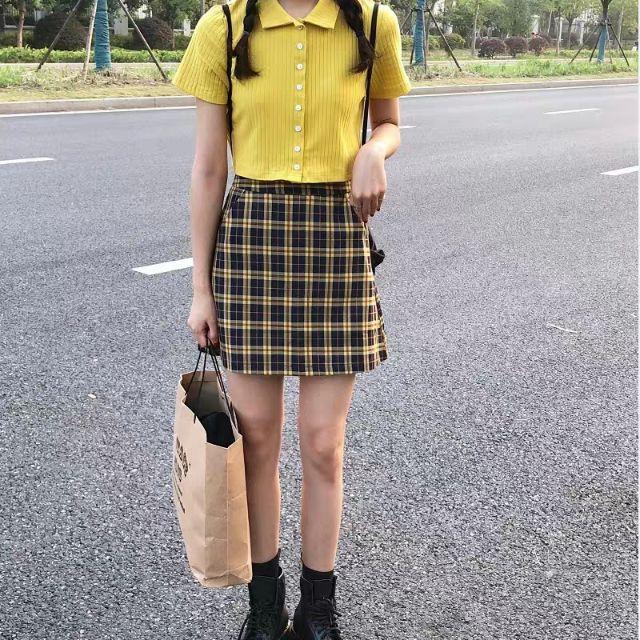 [HÀNG ORDER 7 ĐẾN 10 NGÀY] Set áo polo croptop kết hợp chân váy kẻ caro cùng màu