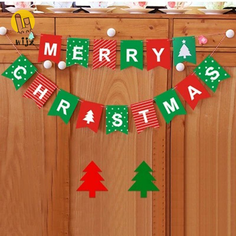 WiJxSummer Korean Merry Christmas Bunting Garland Banner Hanging Flag Shop Home XMAS Party Decor @VN