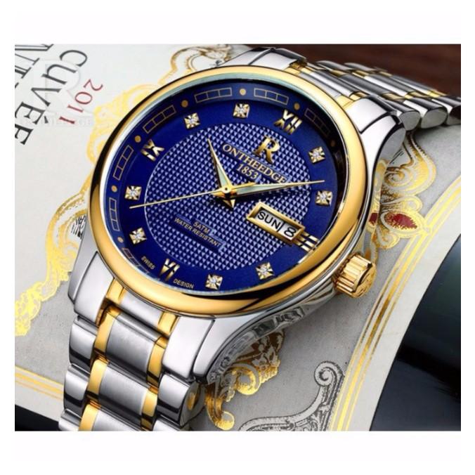 Đồng hồ nam ONTHEEDGE 1853 RZY025 dây thép không gỉ - Mặt xanh, dây demi