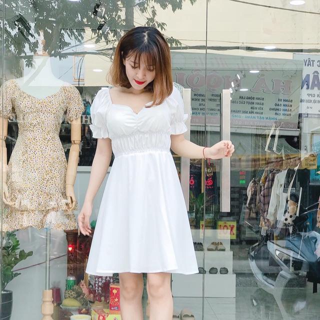 Đầm trắng nhún ngực đầm dự tiệc dạo phố siêu hót
