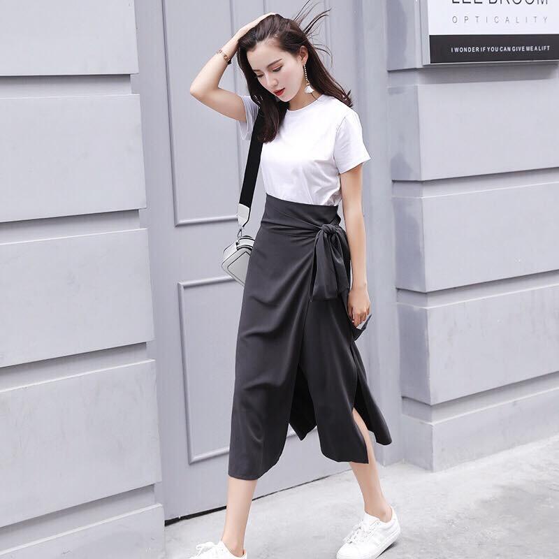 Set chân váy dài đắp buộc eo
