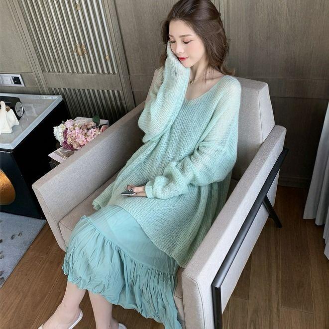 set áo thun cổ chữ v và chân váy dài thời trang cho nữ