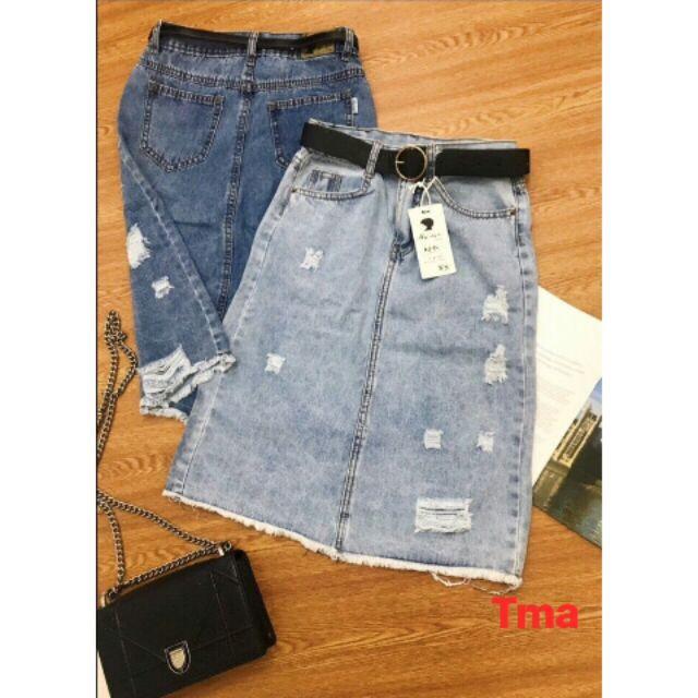 Chân váy jeans dài rách from chữ A ( ảnh thât )
