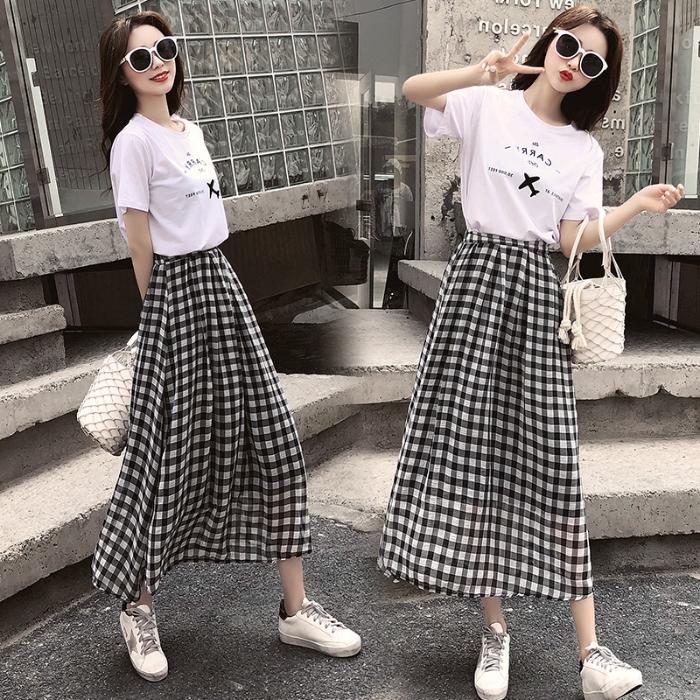 Set Áo Thun Ngắn Tay + Chân Váy Ca Rô Thời Trang Theo Phong Cách Hàn Quốc Dành Cho Nữ