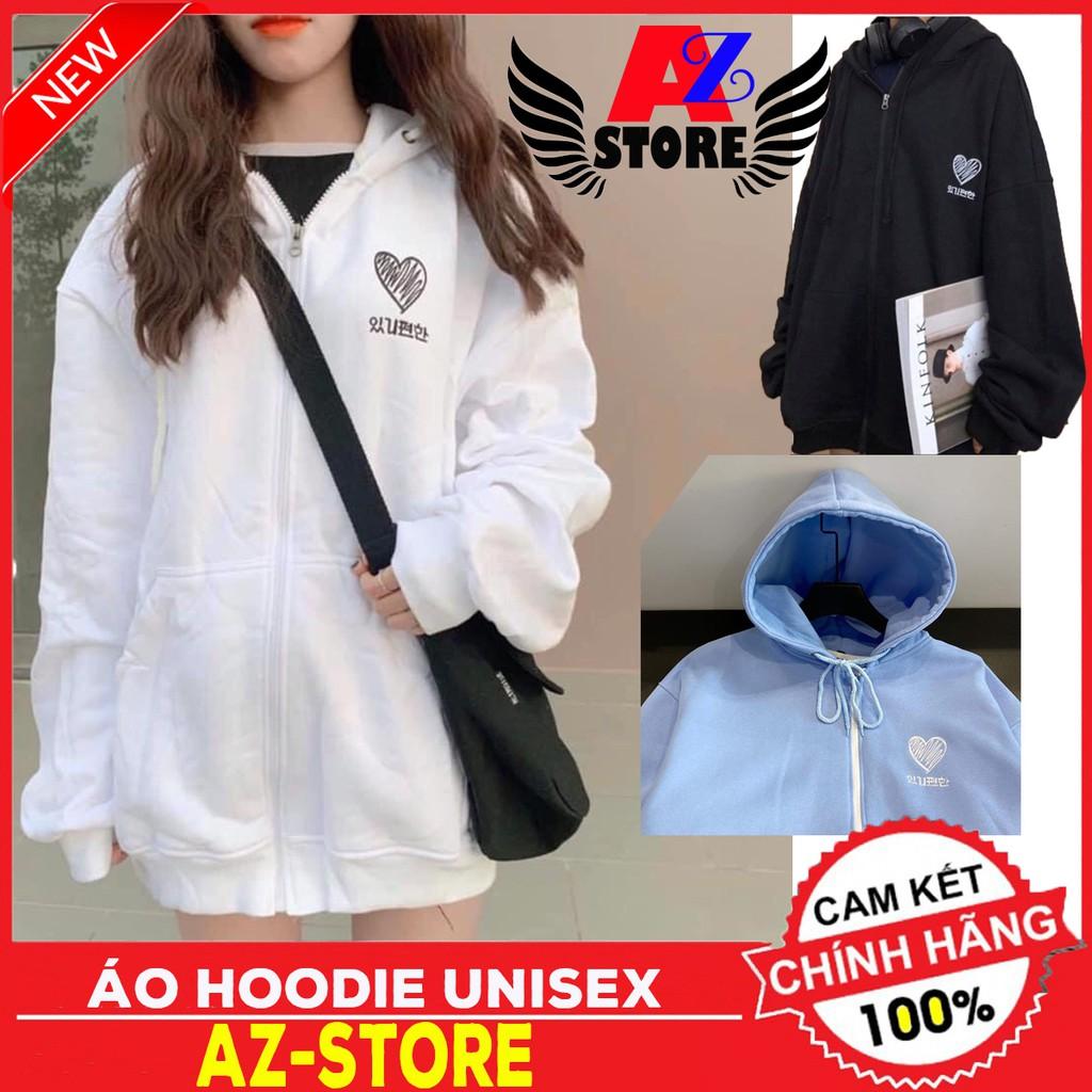 (      ) áO khoác Hoodie TIM THIÊU dây kéo. Áo Hooide Nam nữ Nỉ ngoại (Đủ Size M,L,XL)