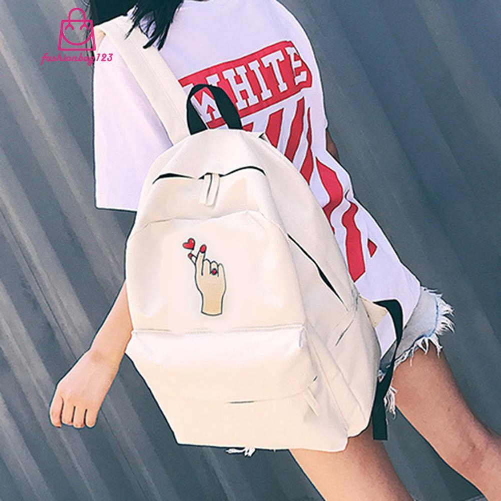 ⓕ Ready Stock Unisex Students Embroidered Roses Loves Canvas Backpack Casual School Bag