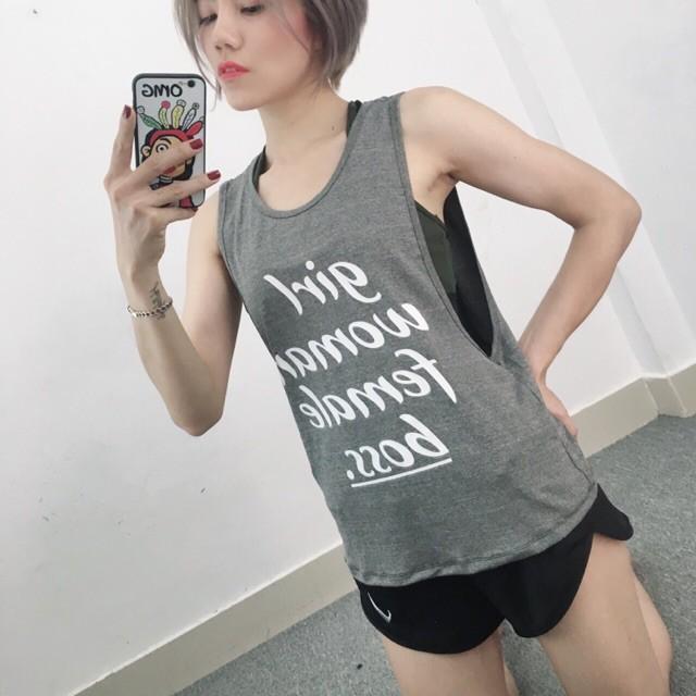 Áo Tập Mặc Ngoài Tank Tập Gym Yoga Màu Ghi Cá Tính Tôn Dáng Đẹp Da Hàng Chuẩn