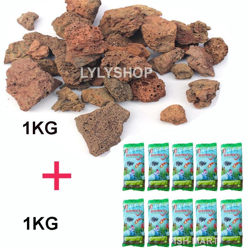 Combo ĐÁ NHAM THẠCH (1kg) + 10 gói thức ăn SHANGHAI cho các loại cá kiểng, cá koi, cá chép coi loại 100gr/gói