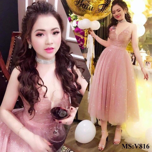 Đầm xòe kim sa thêu hoa cao cấp, đầm xòe công chúa dự tiệc sang trọng giá rẻ