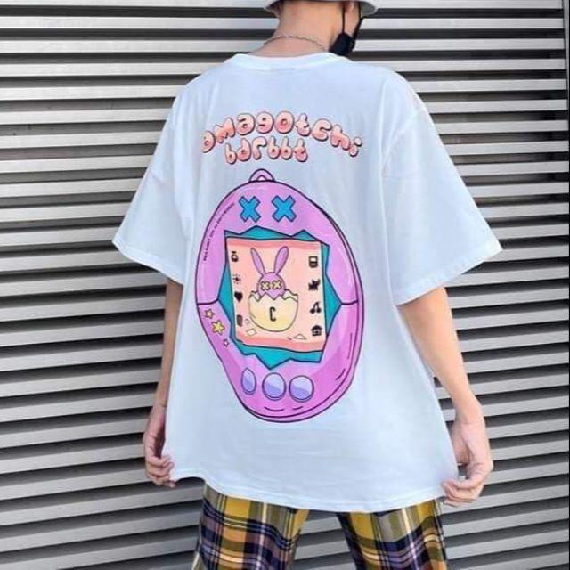 Áo thun tay lỡ, áo thun nam nữ unisex hình thỏ hồng amagotchi - samsongshop