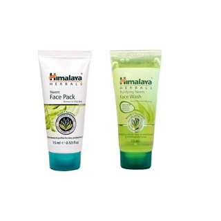 Combo diệt sạch mụn Himalaya Neem Travel Kit Neem Face Wash 15ml + Neem Face Pack 15ml