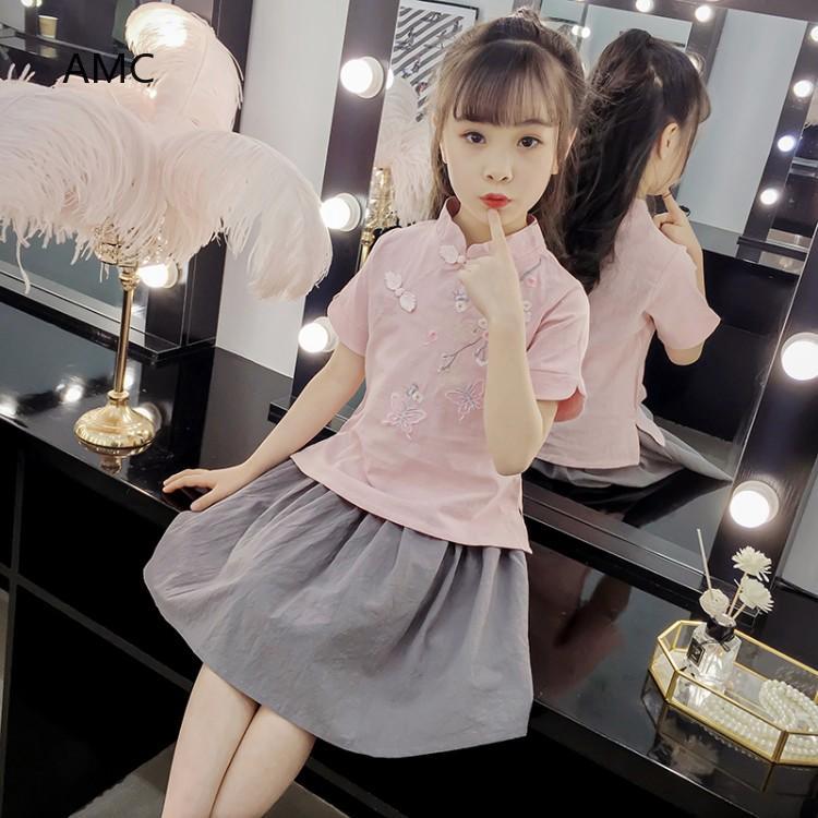 Bộ áo + chân váy phong cách Trung Hoa cho bé gái