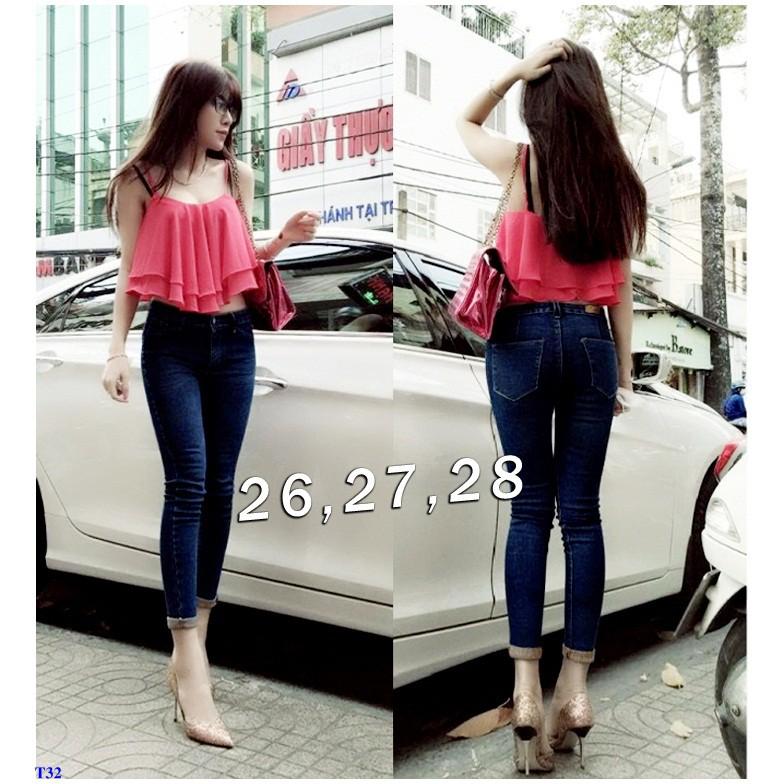 Quần Jeans Nữ Lưng Cao 1 Nút Xắn Lai