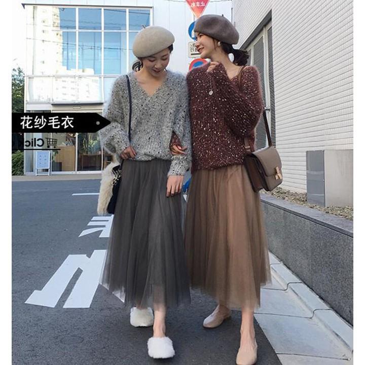 Chân Váy Xếp LiVáy Hai Màu Với Váy Lưới AQZ191005