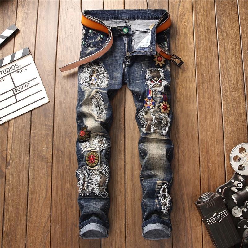 Quần Jeans Rách Thêu Họa Tiết Thời Trang Cá Tính Cho Nam