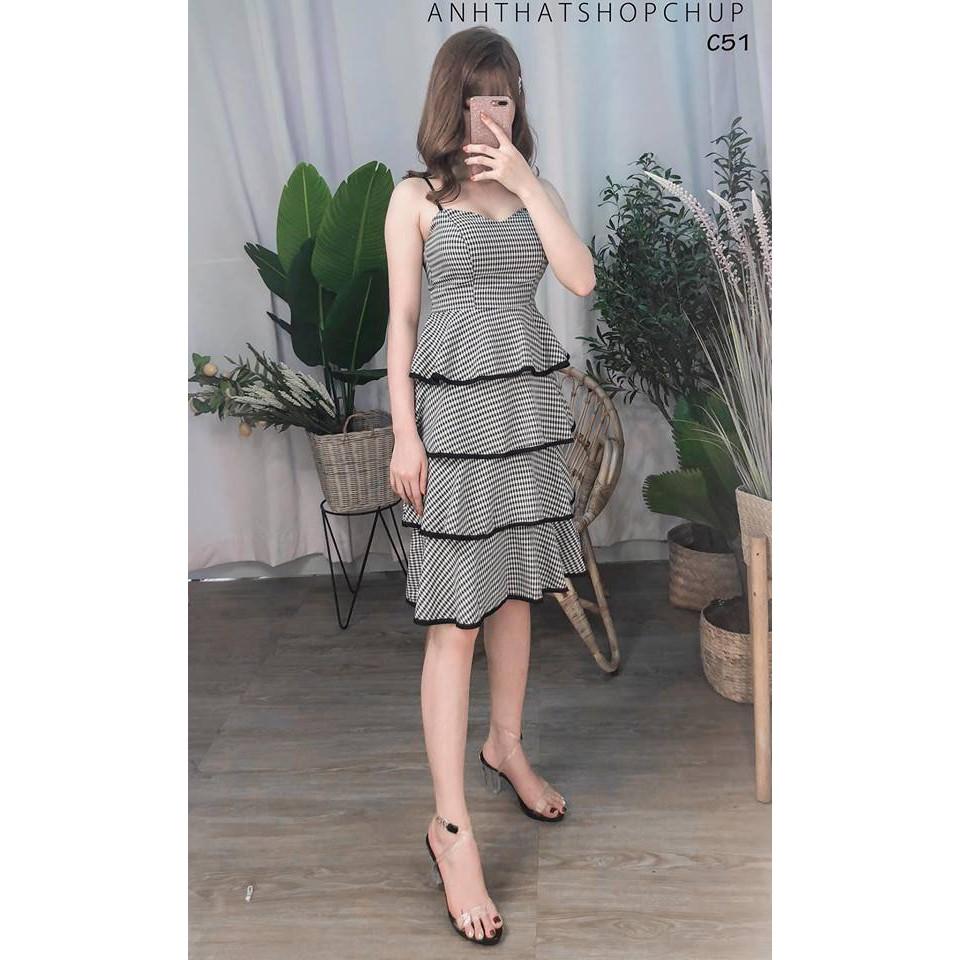 Đầm Xòe 2 Dây Caro Bèo Tầng Siêu Xinh Lolipop Dress