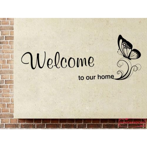 Hình ảnh AYE-Welcome To Our Home Quote DIY Butterfly Vinyl Wall Sticker Art Decals Home