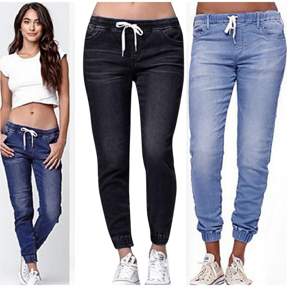 Quần Jeans Lửng Lưng Thun Rút Dây Thời Trang Cho Nữ