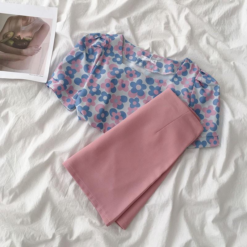 Set áo thô cổ vuông in hoa tay bồng + chân váy ngắn chữ A ulzzang 2850 8068