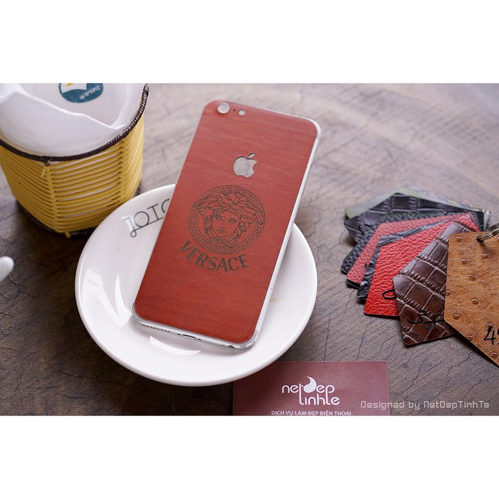 Miếng Dán Da Skin Iphone 6 Plus Da Bò Vân Trơn Màu Nâu đỏ