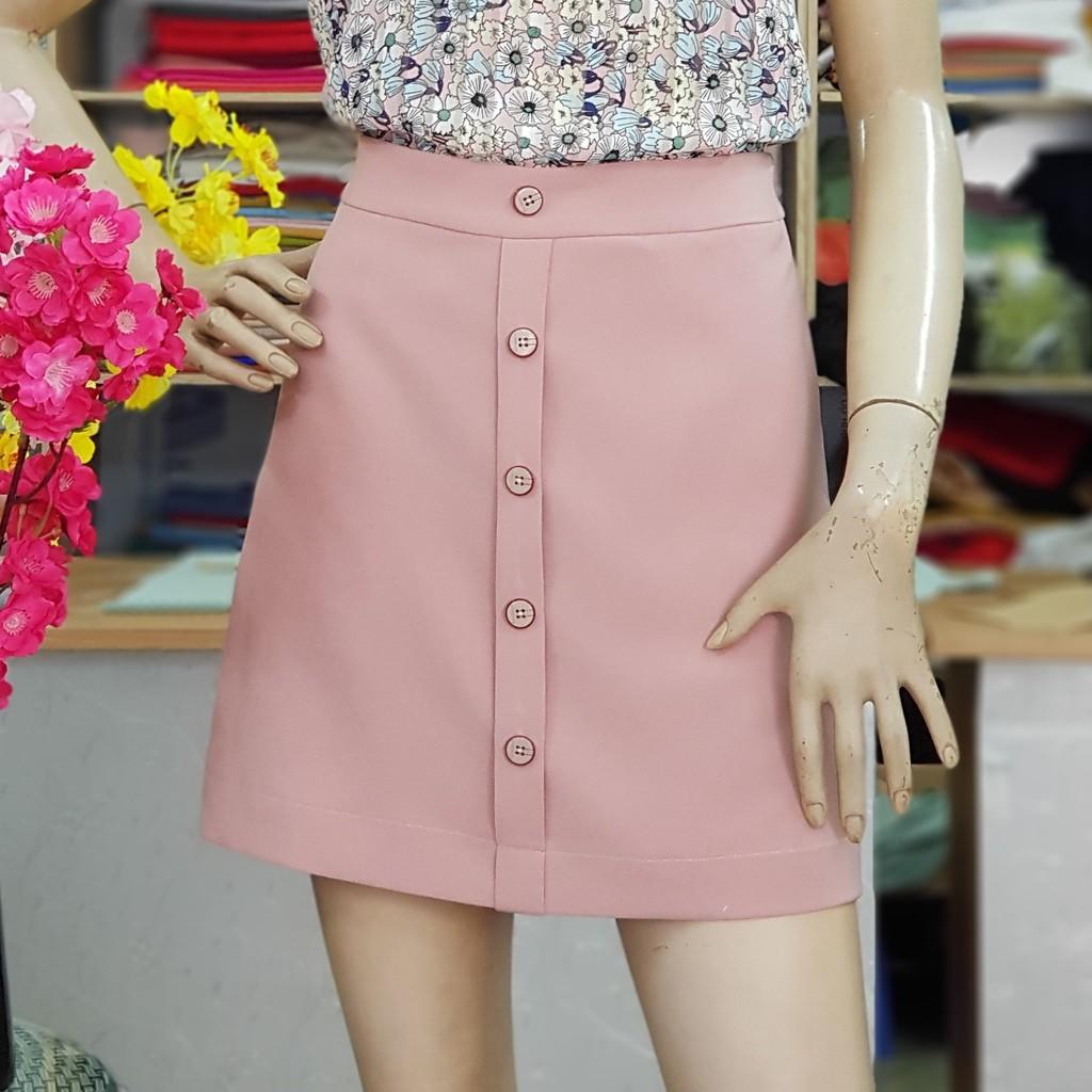 Chân váy chữ A ngắn màu hồng vải thun (có lớp quần short phía trong) V07 tại Thời Trang Thủy