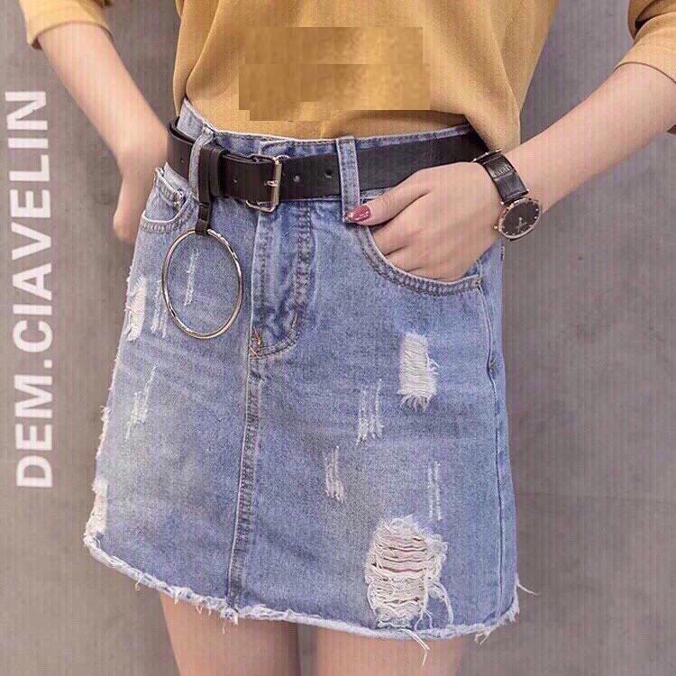 Chân váy Jeans phối rách thời trang