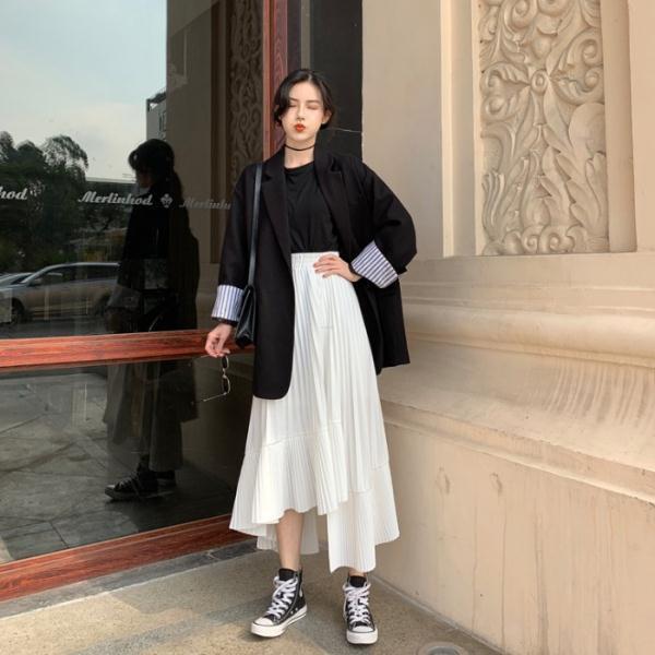Set Áo Khoác Blazer + Chân Váy Chữ A Lưng Cao Thời Trang Dành Cho Nữ