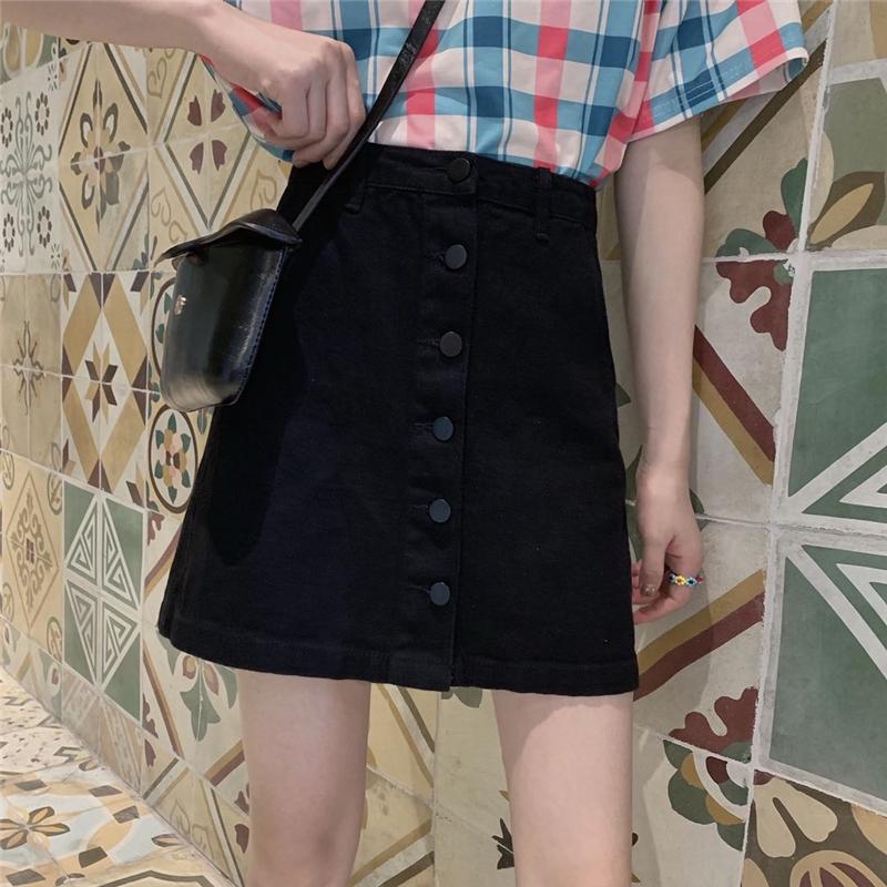 Chân Váy Denim Lưng Cao Phong Cách Retro Cho Nữ